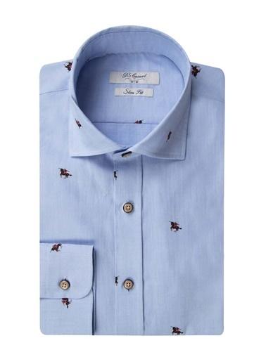 D'S Damat Slim Fit Baskılı Gömlek Mavi